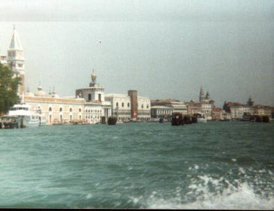 View from a boat towards the bell tower of St Marks Square.